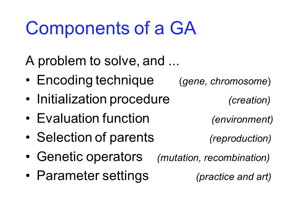 Genotype Operators recombination (crossover)