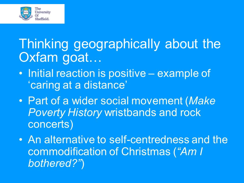 Thinking geographically about the Oxfam goat…