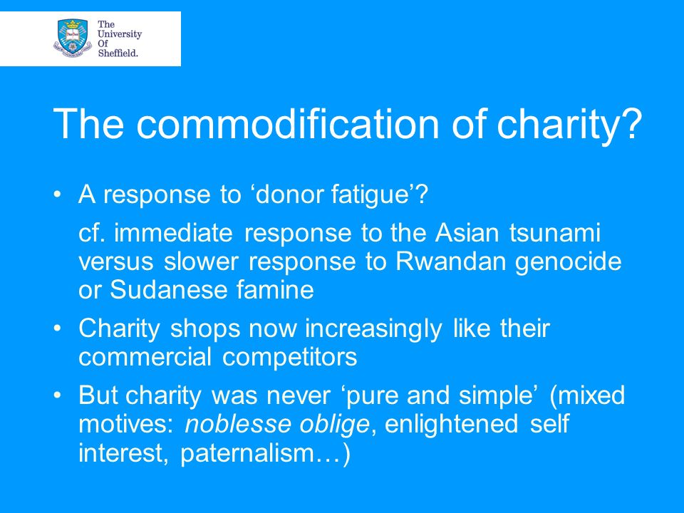 The commodification of charity