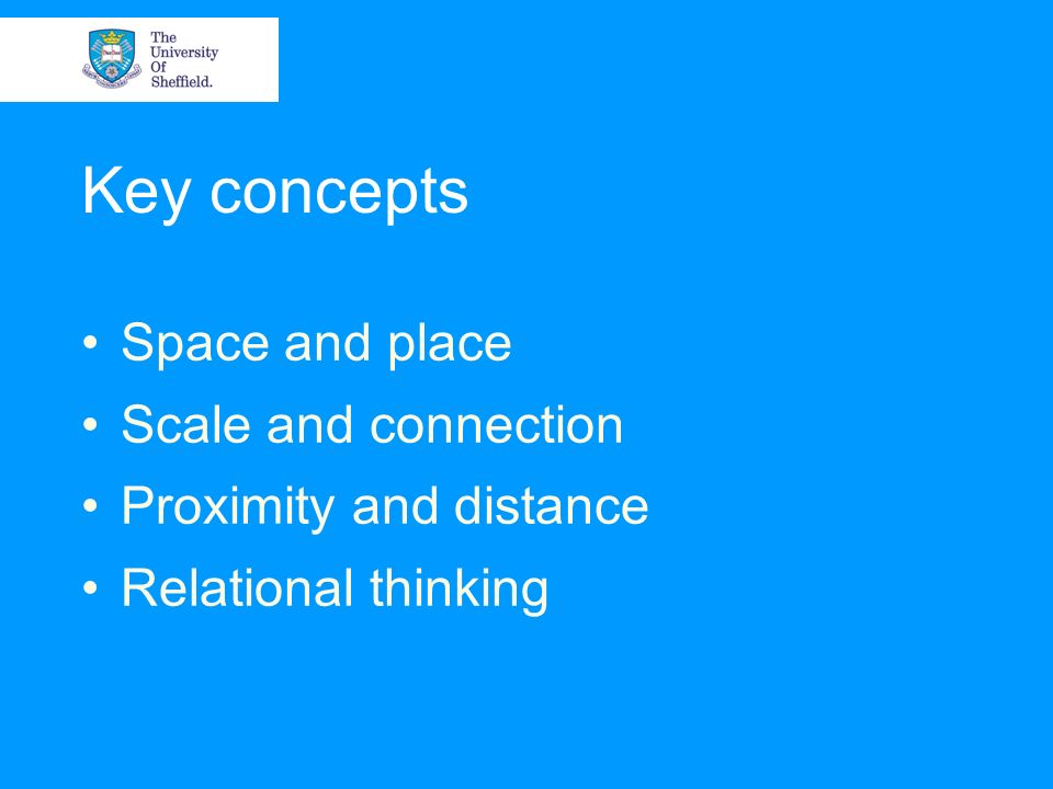 Key concepts Space and place Scale and connection