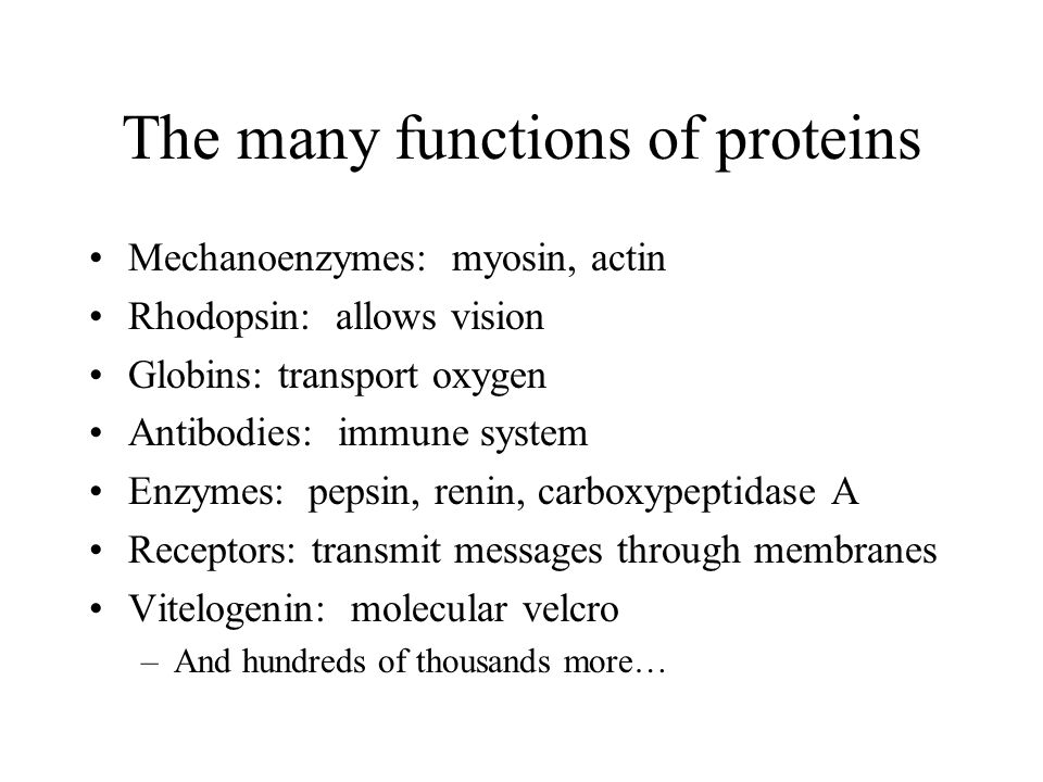 The many functions of proteins