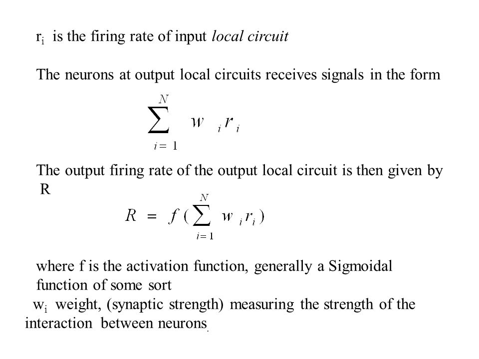 ri is the firing rate of input local circuit