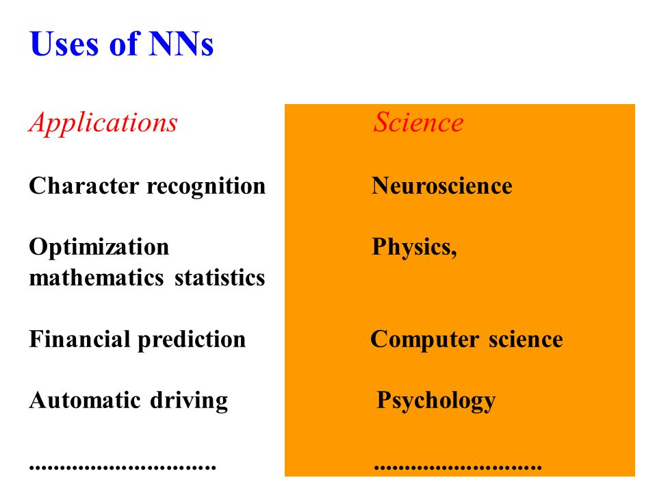 Uses of NNs Neural Networks Are For