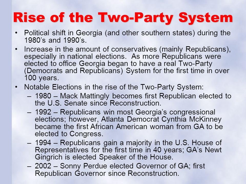 concept of the two party system A two-party political system is one where there are two political groups vying to dominate the government there are three political system types: one-party, two-party and multi-party and in the united states, two parties seek to reach out to the electorate.