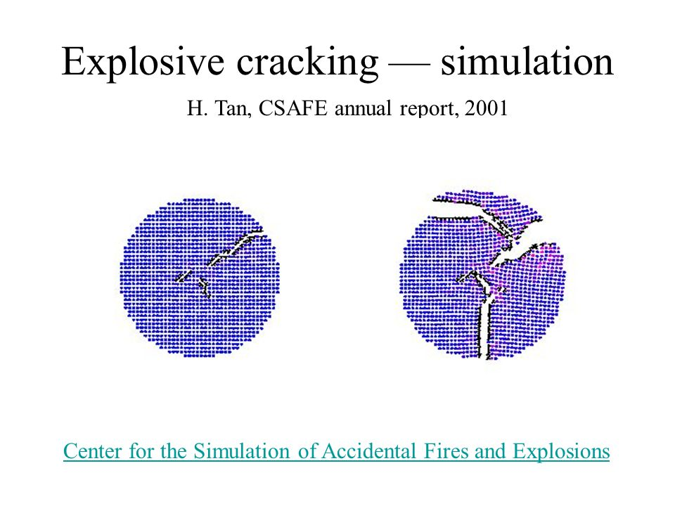 Explosive cracking — simulation