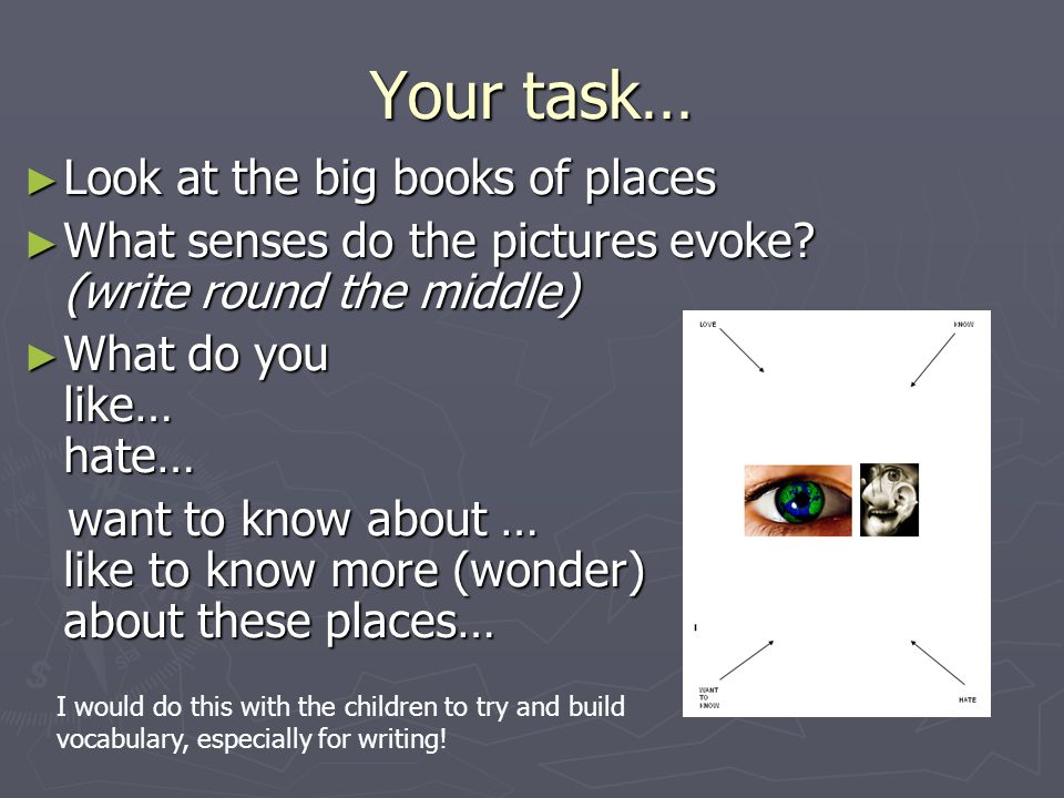 Your task… Look at the big books of places