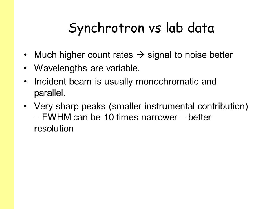 Synchrotron vs lab data
