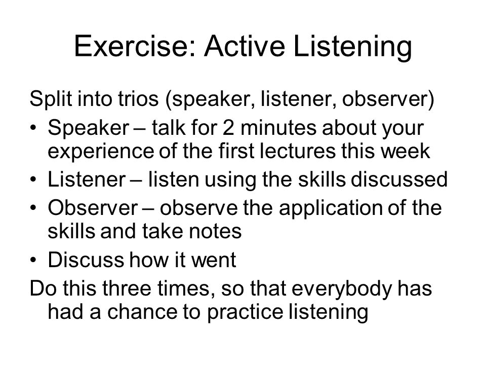 Exercise: Active Listening