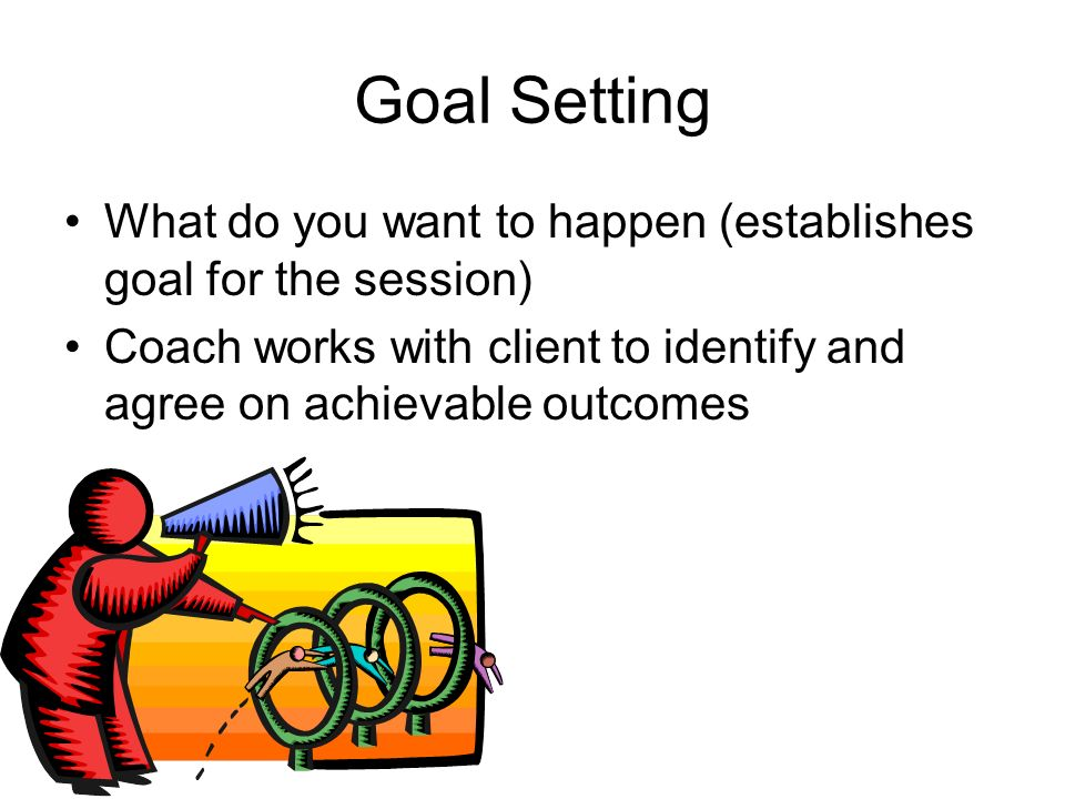 Goal Setting What do you want to happen (establishes goal for the session) Coach works with client to identify and agree on achievable outcomes.