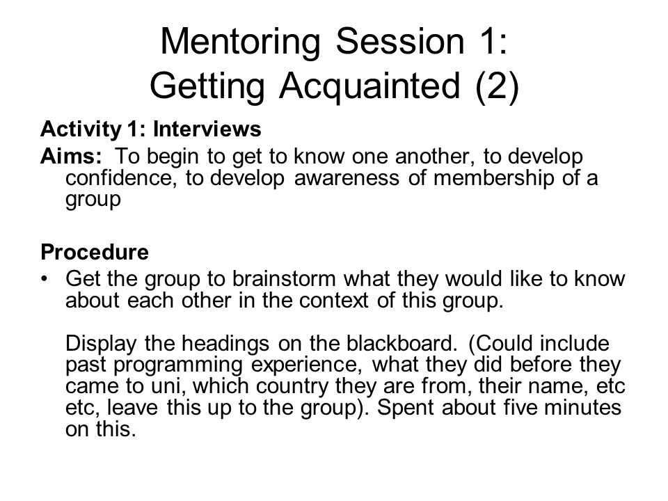 Mentoring Session 1: Getting Acquainted (2)