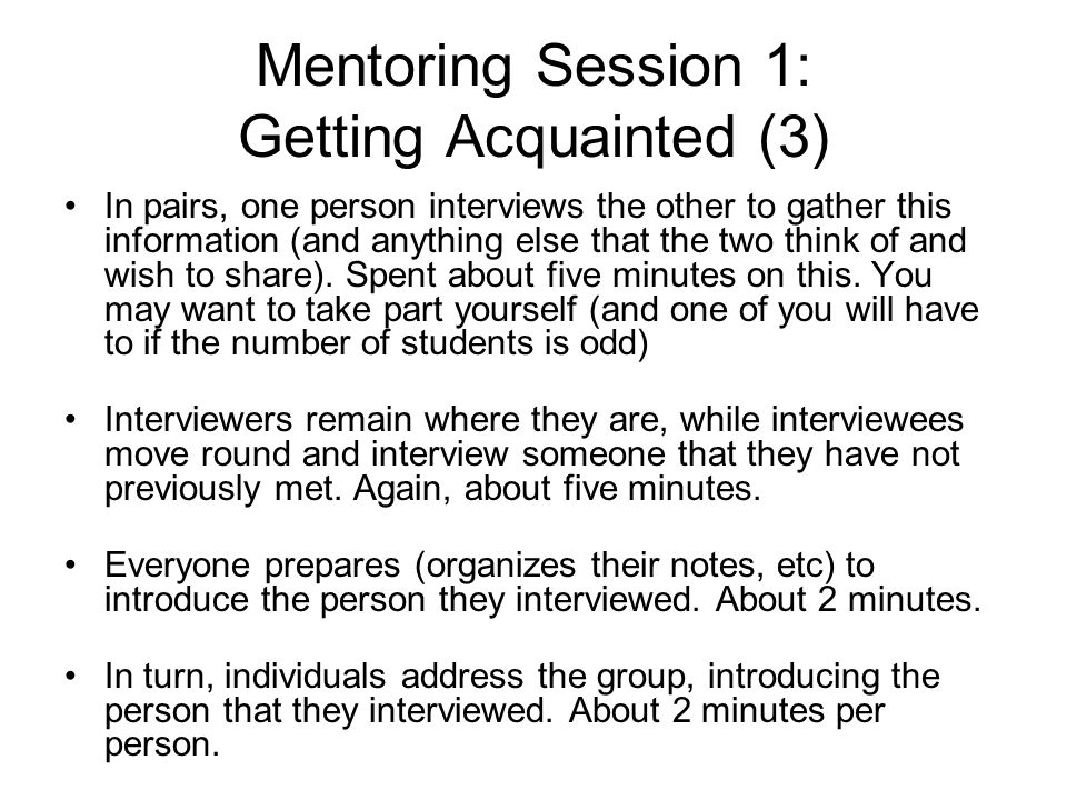 Mentoring Session 1: Getting Acquainted (3)