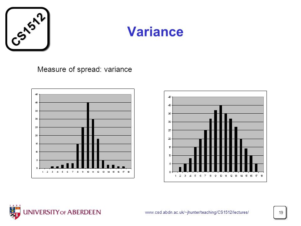 Variance Measure of spread: variance