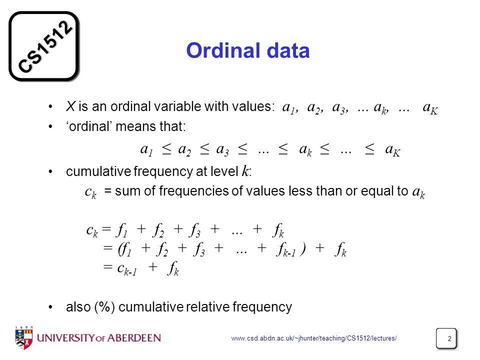 Ordinal data a1 ≤ a2 ≤ a3 ≤ ... ≤ ak ≤ ... ≤ aK
