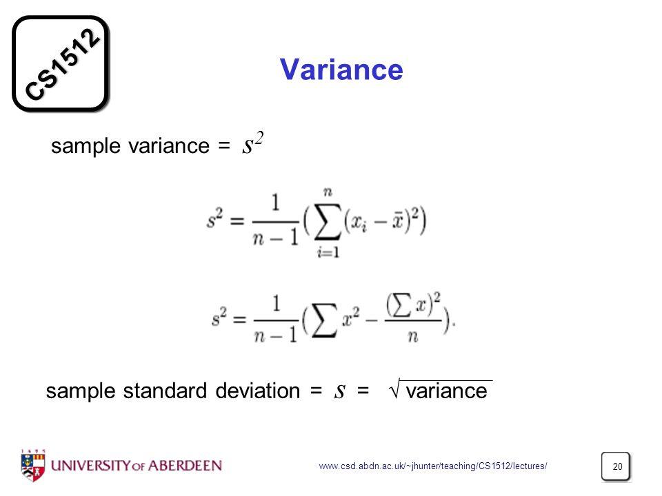 Variance sample variance = s2