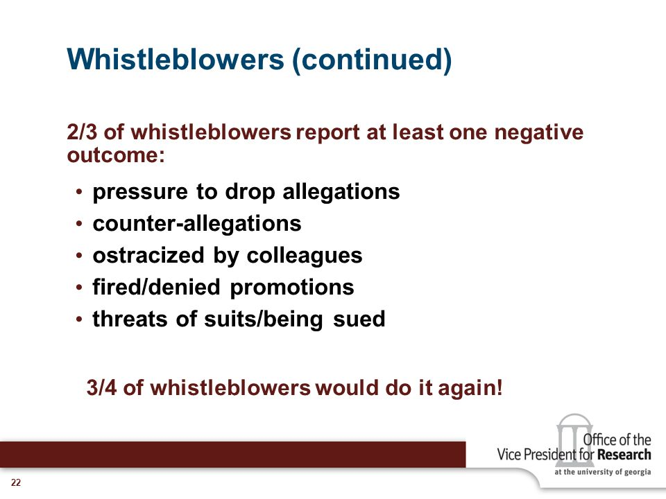 Whistleblowers (continued)