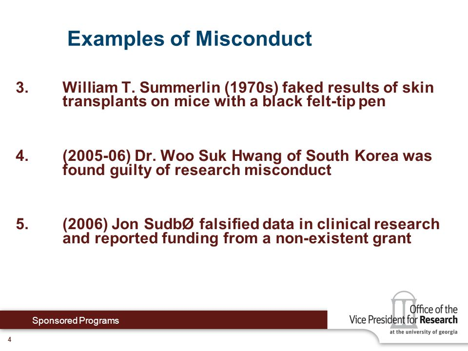 + + Examples of Misconduct