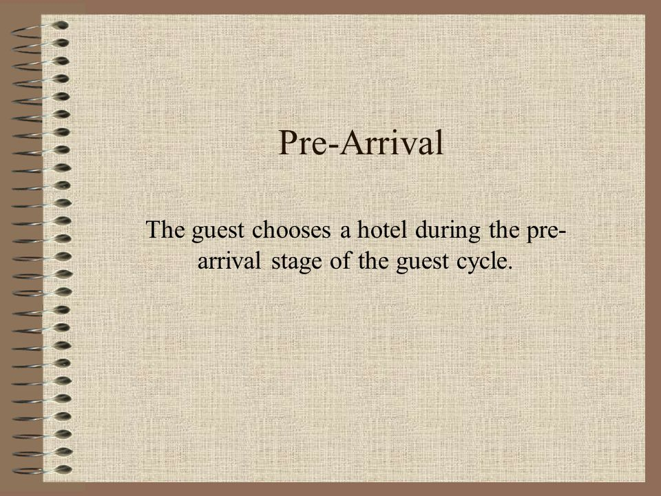 pre arrival guest stage Pre-arrival stage is the process of where orientation starts for a new employee, wherein exchange of certain information take place before.