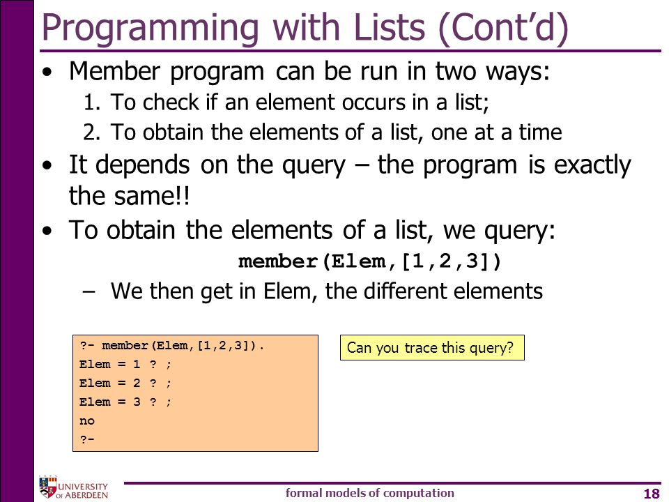 Programming with Lists (Cont'd)