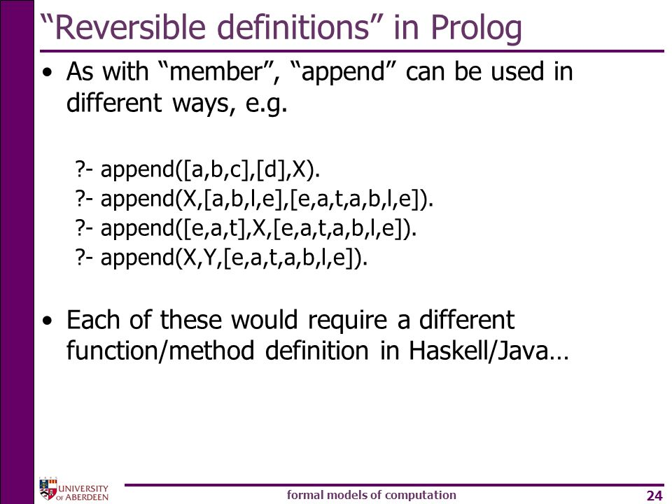 Reversible definitions in Prolog