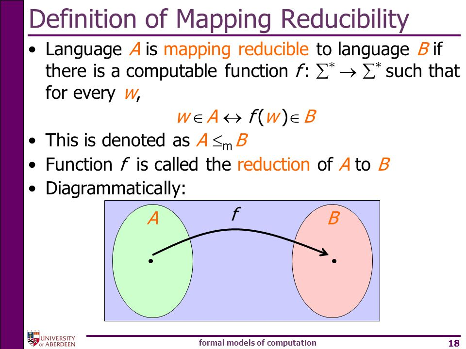 Definition of Mapping Reducibility