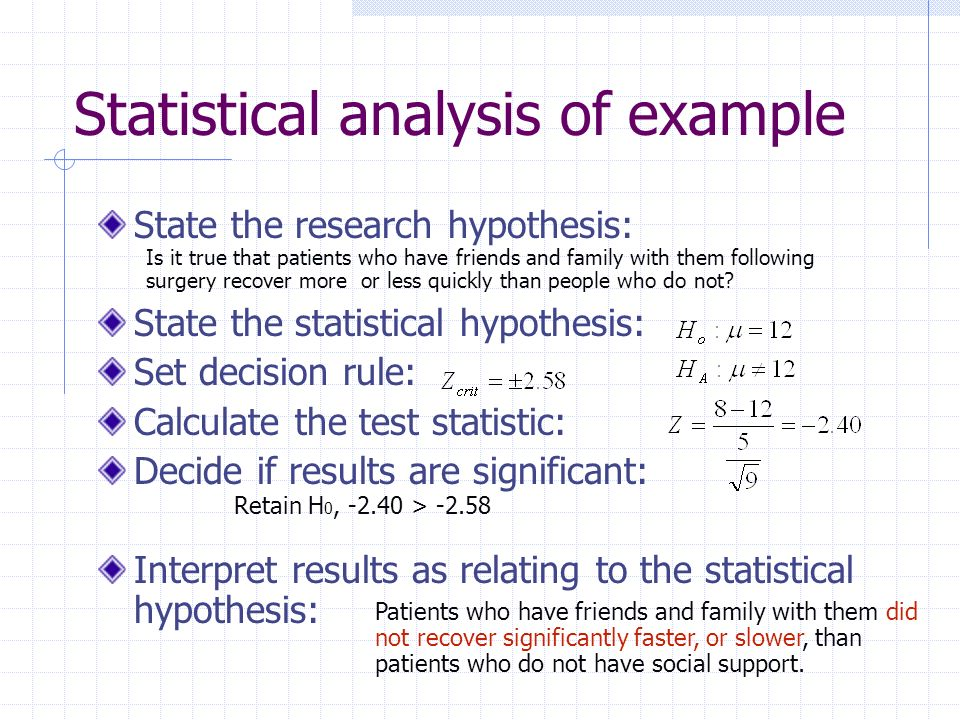 Statistical analysis of example
