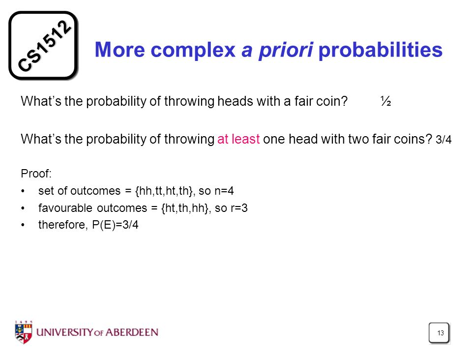 More complex a priori probabilities