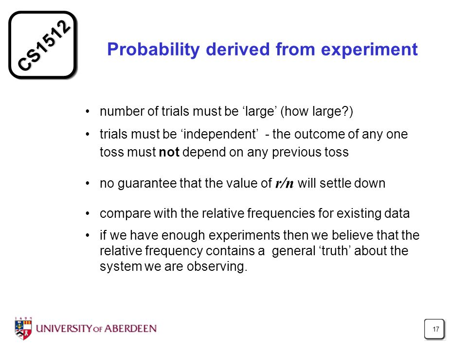 Probability derived from experiment