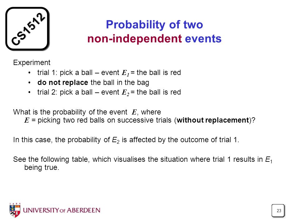 Probability of two non-independent events