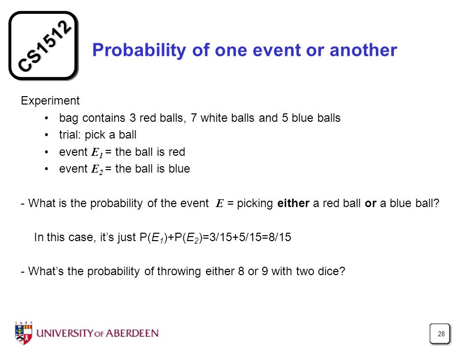 Probability of one event or another