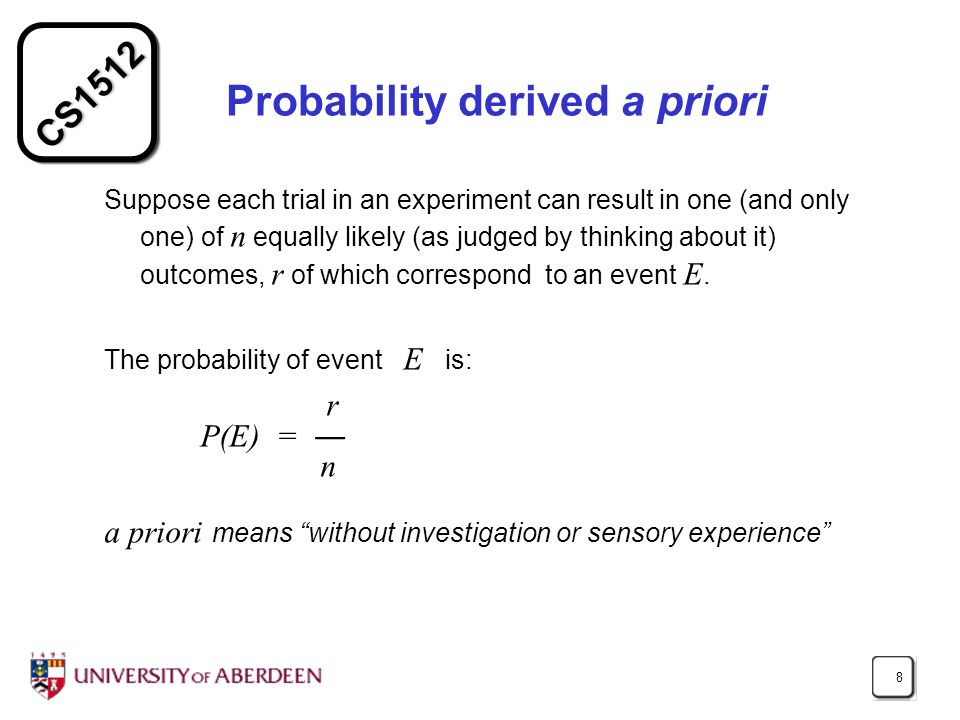 Probability derived a priori