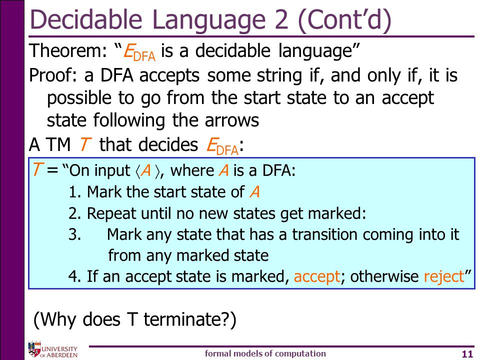 Decidable Language 2 (Cont'd)