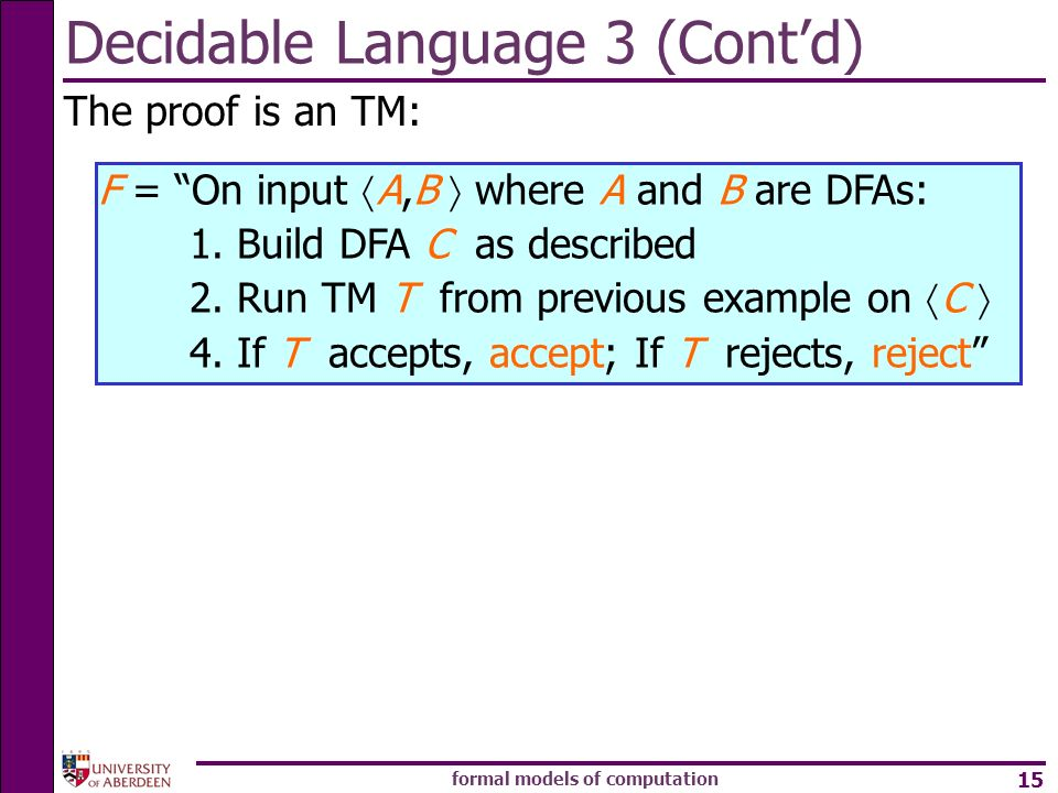 Decidable Language 3 (Cont'd)