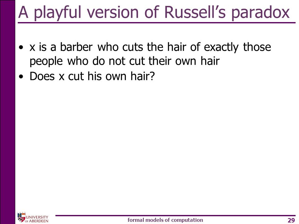 A playful version of Russell's paradox