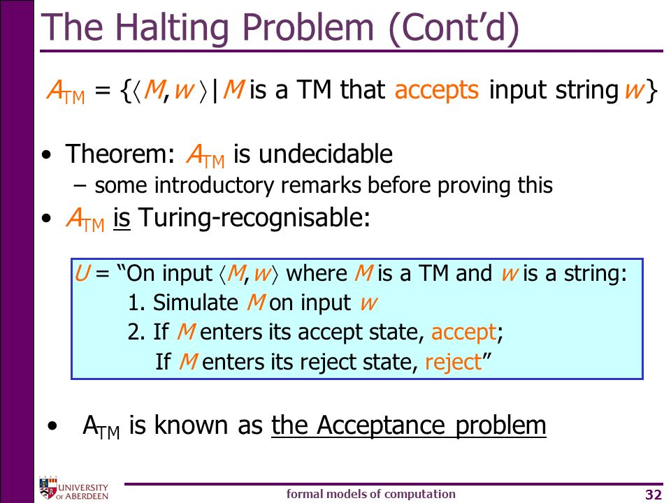 The Halting Problem (Cont'd)