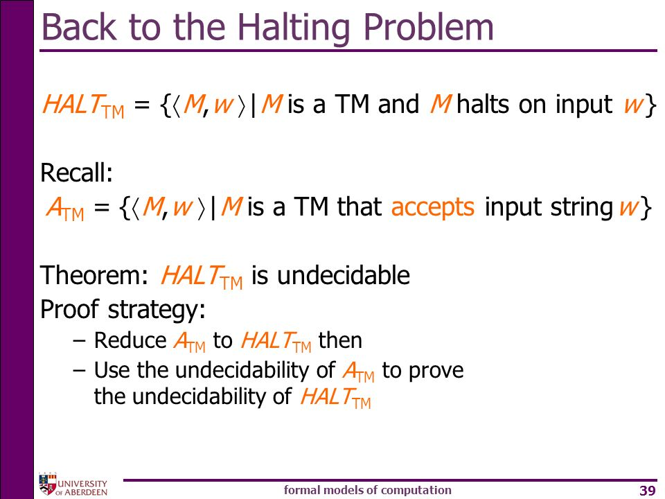 Back to the Halting Problem