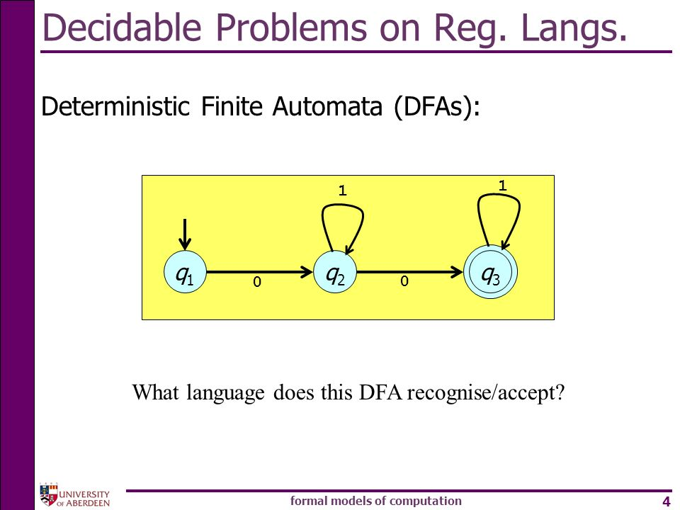 Decidable Problems on Reg. Langs.