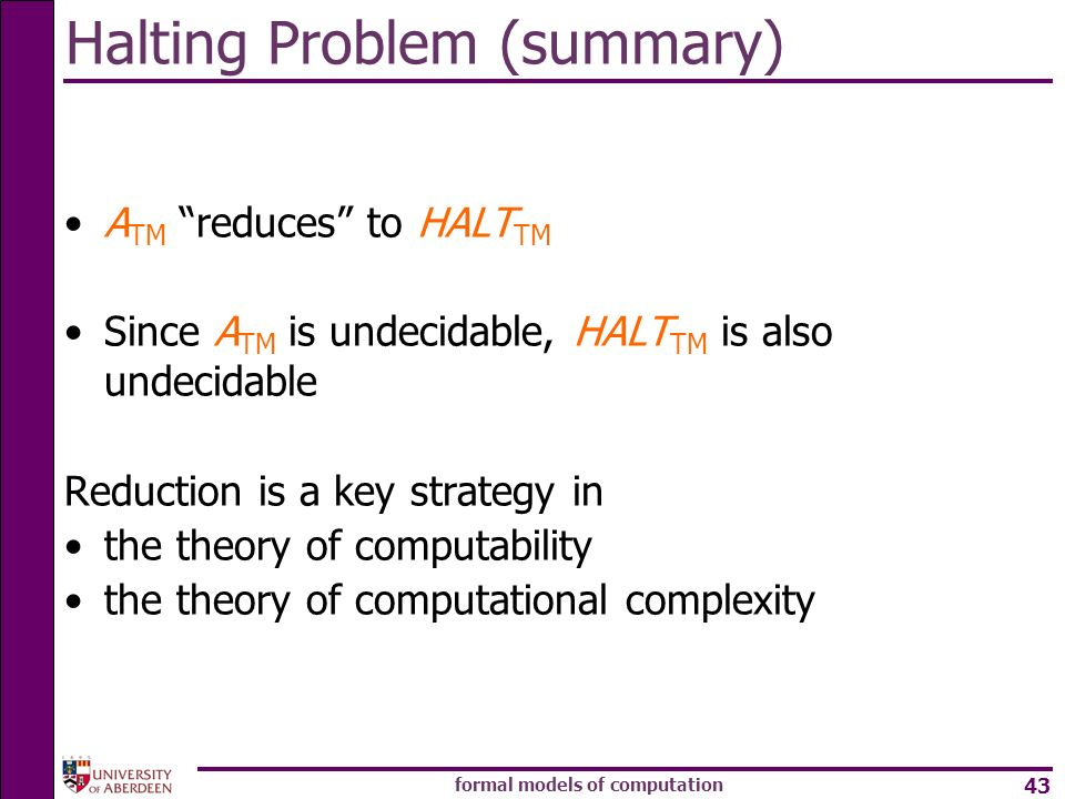 Halting Problem (summary)