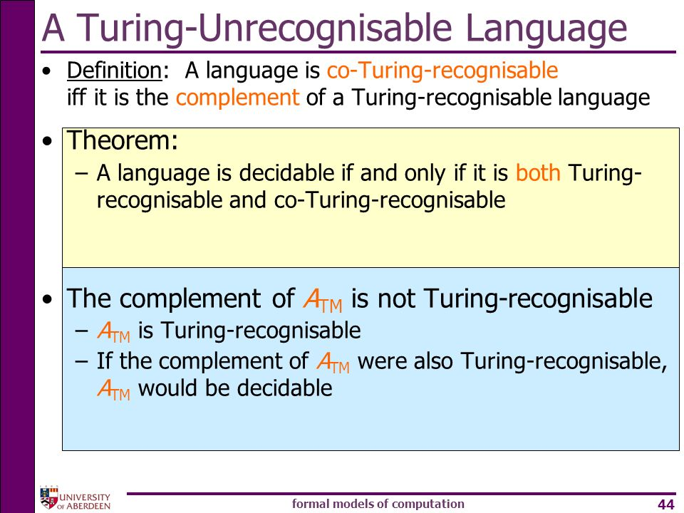 A Turing-Unrecognisable Language