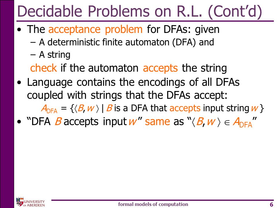 Decidable Problems on R.L. (Cont'd)