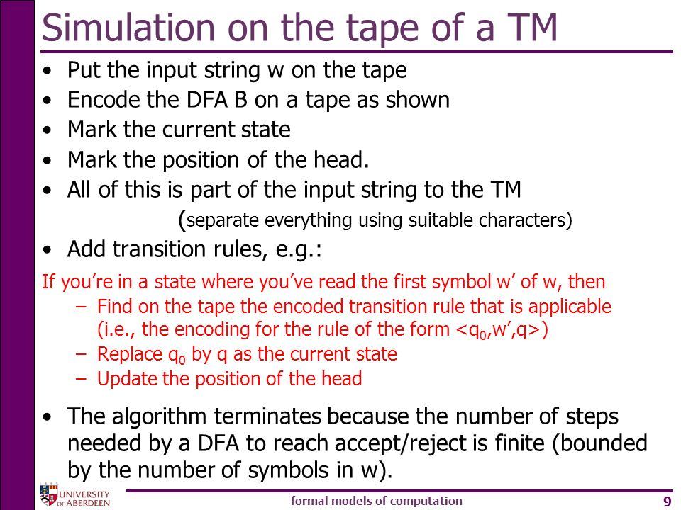 Simulation on the tape of a TM