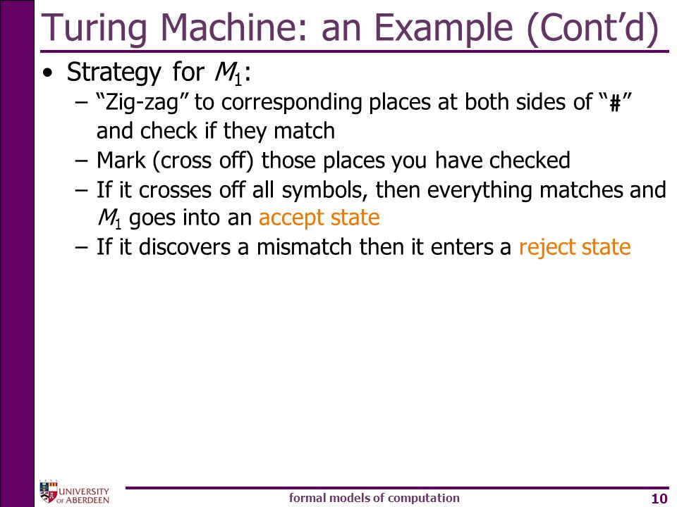 Turing Machine: an Example (Cont'd)