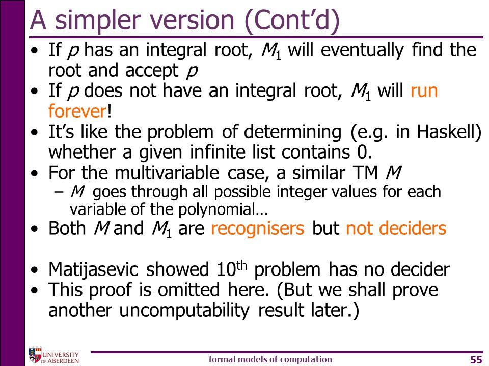 A simpler version (Cont'd)