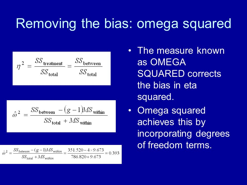 Removing the bias: omega squared