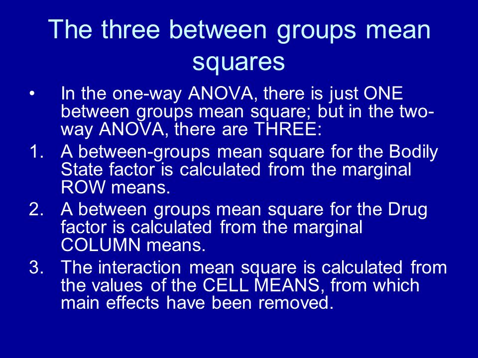 The three between groups mean squares