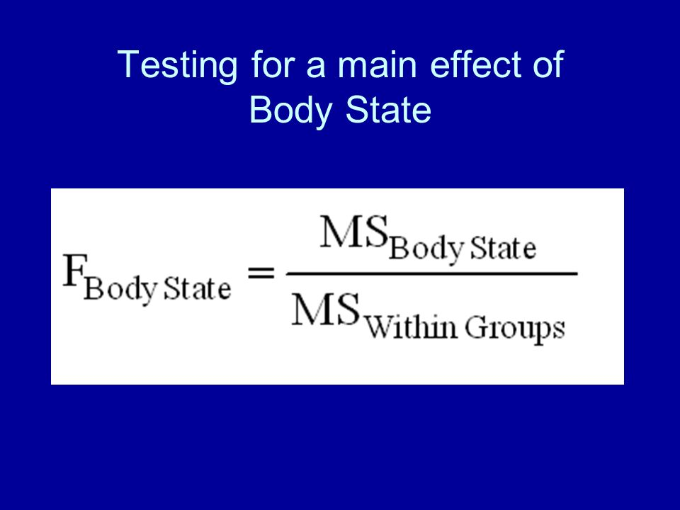 Testing for a main effect of Body State