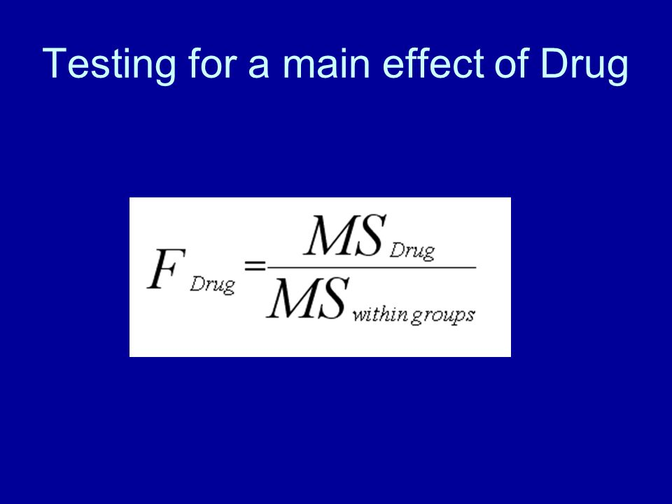 Testing for a main effect of Drug