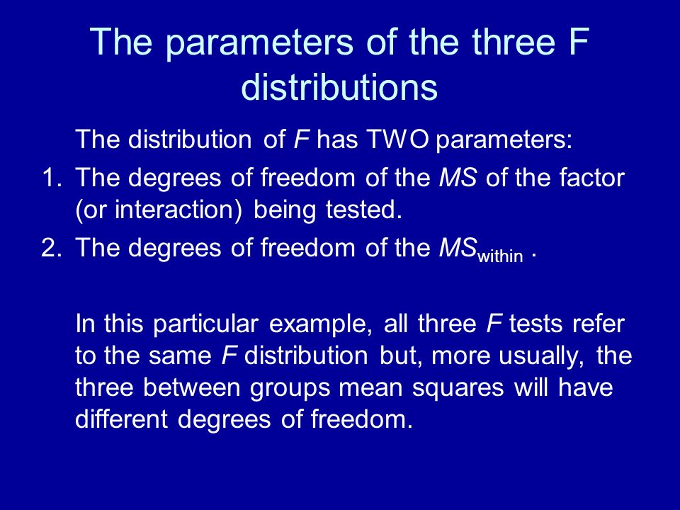 The parameters of the three F distributions