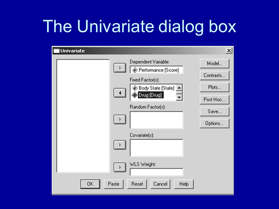 The Univariate dialog box