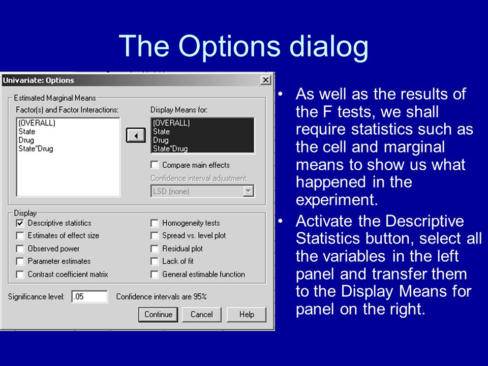 The Options dialog