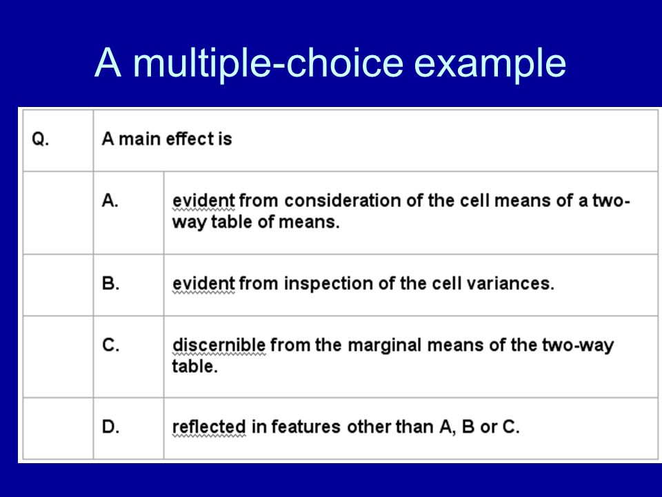 A multiple-choice example